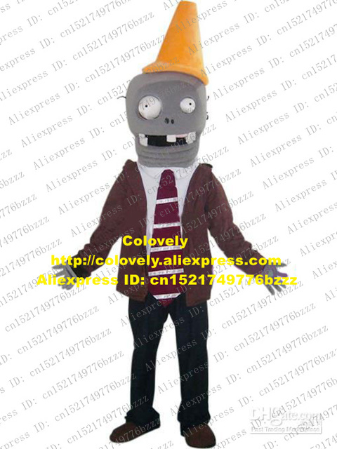New Grey Plants Vs Zombies Conehead Zombie Mascot Costume Mascotte