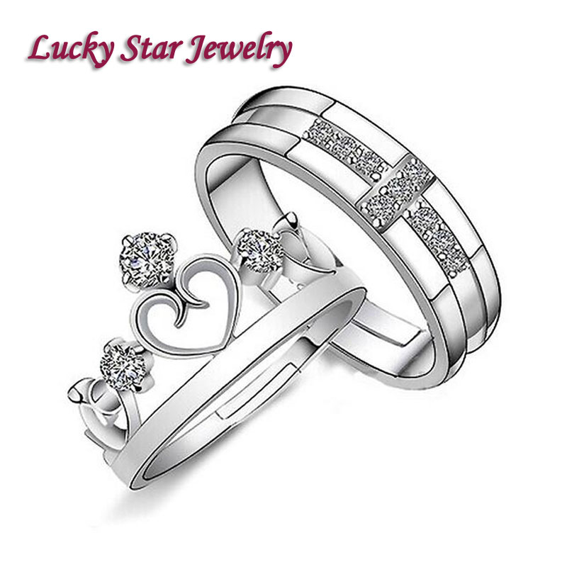 925 Silver Jewelry Aros Punk Fashion Couple Love Fine Jewelry Wedding Rings Carter Retro Rhinestone Ring Set For Women