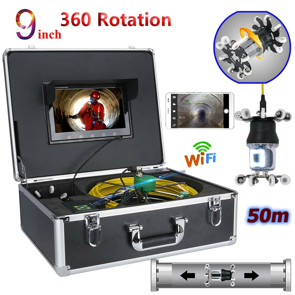 9 inch WiFi Wireless Pipe Inspection Video Camera Drain Sewer Pipeline Industrial Endoscope IP68 360 Degree Rotating Camera9 inch WiFi Wireless Pipe Inspection Video Camera Drain Sewer Pipeline Industrial Endoscope IP68 360 Degree Rotating Camera