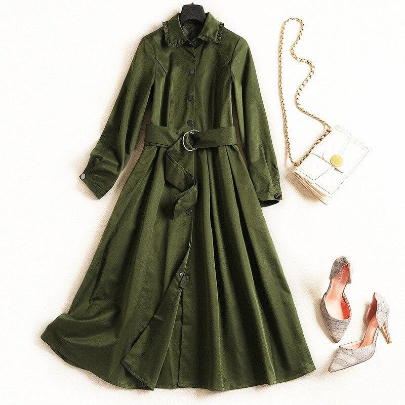 Army Femmes Vintage La Green Revers Plus Manches Tranchée Longues Automne Manteau Nouveau Classique Taille 2018 Windbreake kaki Haute Pour Hiver gwCXnaqT