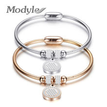 Modyle New High Crystal Quality Bracelet Bangles Coin Magnet Clasp Snake Chain 316L Stainless Steel Wedding Bangles jewelry(China)