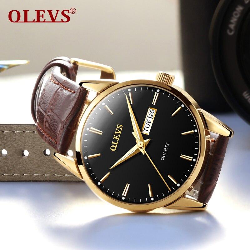 8bfdec58977 Relógios de pulso homens 2017 marcas famosas OLEVS relógio relogio masculino  dos homens Mãos Luminosas à prova d  água relógio masculino de couro e saat  ...