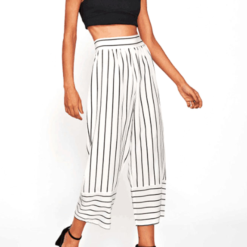 Streetwear striped wide leg pants capri loose casual pants women 2018 autumn summer ankle-length trousers high waist pants