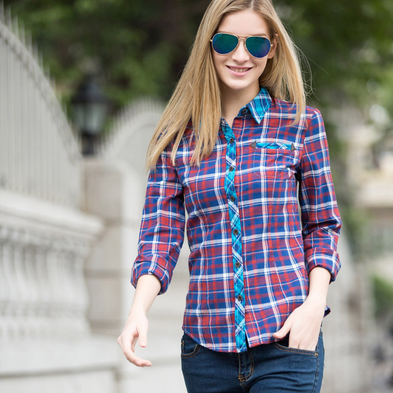 Veri Gude Women's Shirt Plaid shirt for Female Plus Size S-XXL Women's British Style Plaid Shirt Contrast Color Front and Cuffs