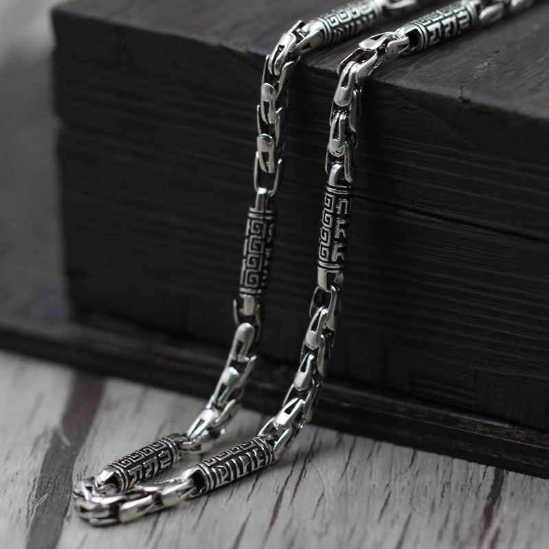 Thai Silver Jewelry To Create men's Rough Chain Retro To Six Words Moxa Necklace 925 Sterling Silver Jewelry