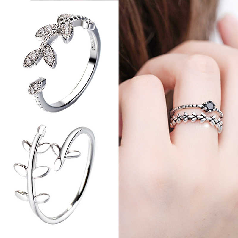 2018 New Arrival Graceful Unique Crystal Open Adjustable Ring Silver Leaf 1PC Men Women Wedding Ring Gifts