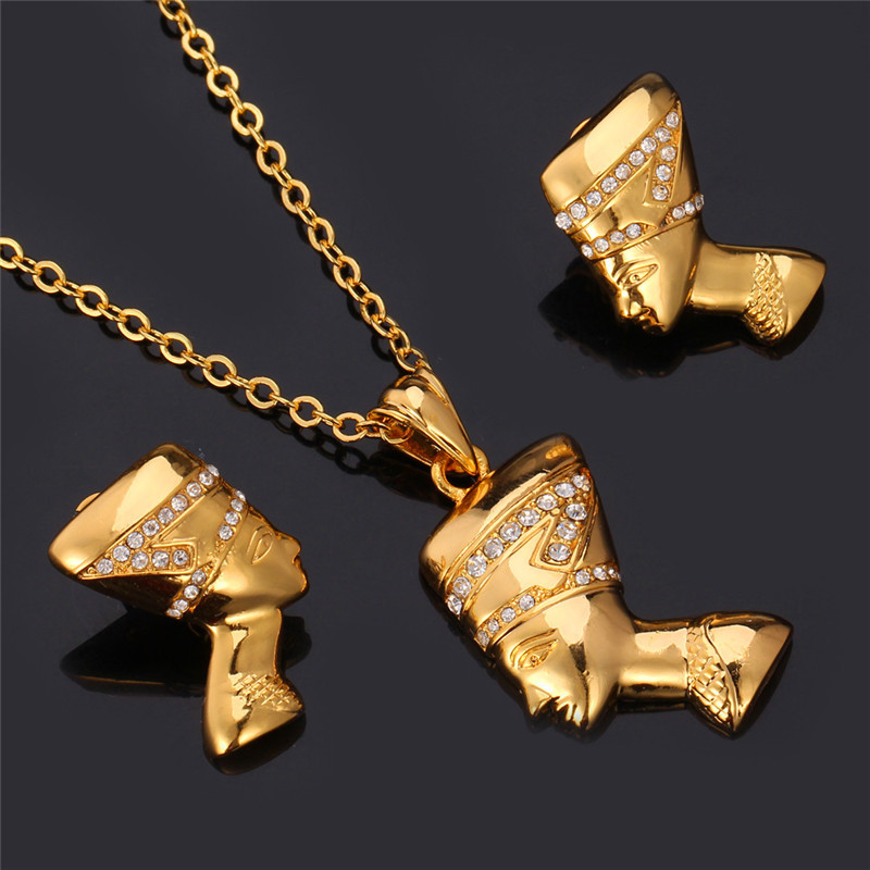 African jewelry set vintage queen head pendant necklace earring for african jewelry set vintage queen head pendant necklace earring for women gold color rhinestone jewelry set pe707 in jewelry sets from jewelry accessories aloadofball Gallery