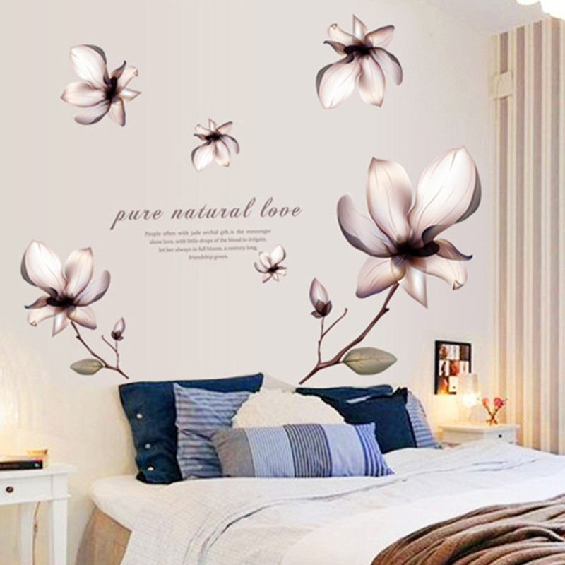 2016 New Lilies Flowers PVC Wall Stickers For Living Rooms Bedroom kids Rooms Home Decoration Free shipping
