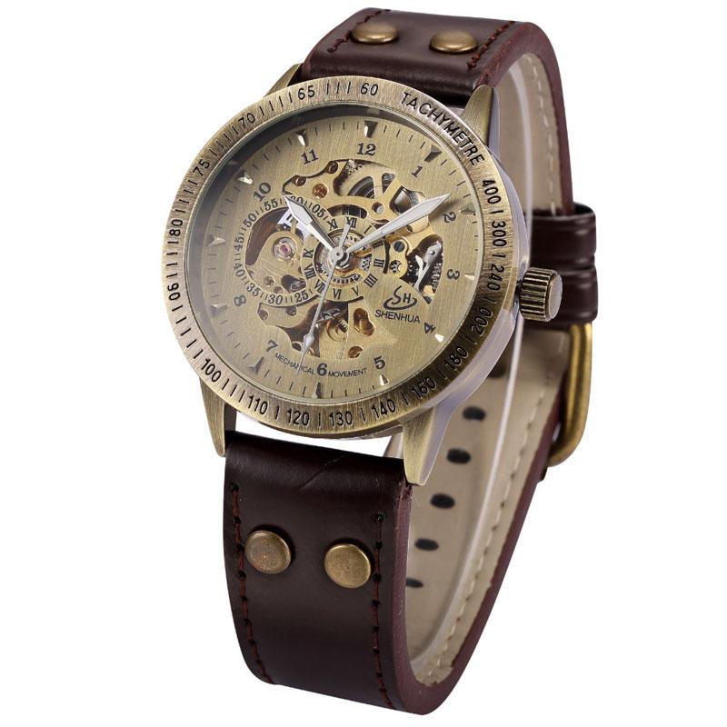 Luxury Vintage Bronze Skeleton Steampunk Wrist Watch With Brown Genuine Leather Strap