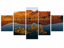 5 Pieces Free Shipping canvas art autumn nature lake forest waterfall landscape Painting Canvas Home decoration painting Framed