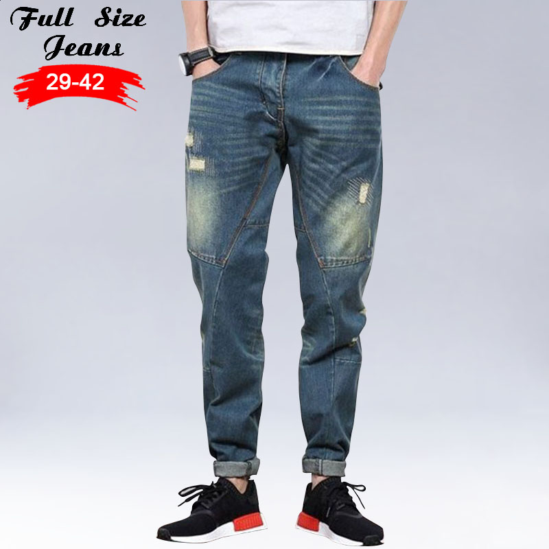 New Baggy Plus Size Harem jeans 40 38 36 5XL Mens Tapered Jeans Joggers Casual Hip hop Legging Pants Pencil Jeans Jean new baggy jeans men plus size taper jeans hole ripped casual pants hip hop legging pants pencil jeans plus size s 4xl