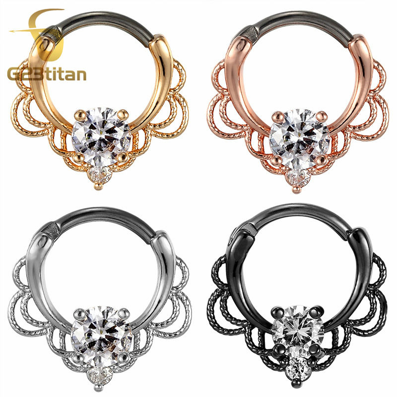 G23titan CZ Nese Rings Septum Clicker 16G G23 Titanium Pole Fashion Body Piercing Jewelry