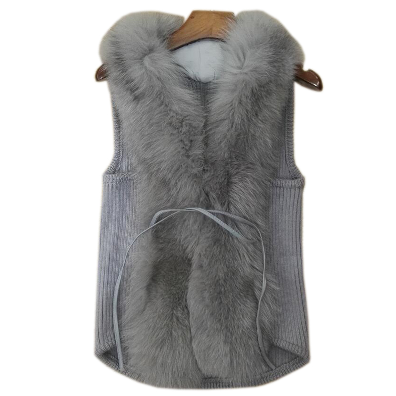 Sweater Vest Female Long Paragraph Large Size Cardigan Jacket Sweater Sleeveless Vest Wide Fox Fur Collar Wool Winter