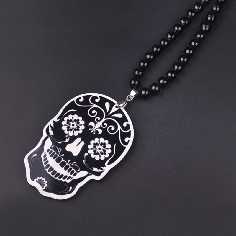 New Hip Hop Skull Pendant Necklace For Men Long Bead Maxi Chain Skull Necklaces Male Jewelry Bijoux Gift Collares Bijouterie