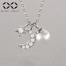 925 Sterling Silver White Pearl Pendant Necklaces Women Moon Star AAA Cubic Zircon Crystal Necklace Chains Chokers Jewelry Z4 necklace ska brand silver 925 sterling chokers necklaces for women olive leaf aaa zircon fashion fine jewelry ac4034ox