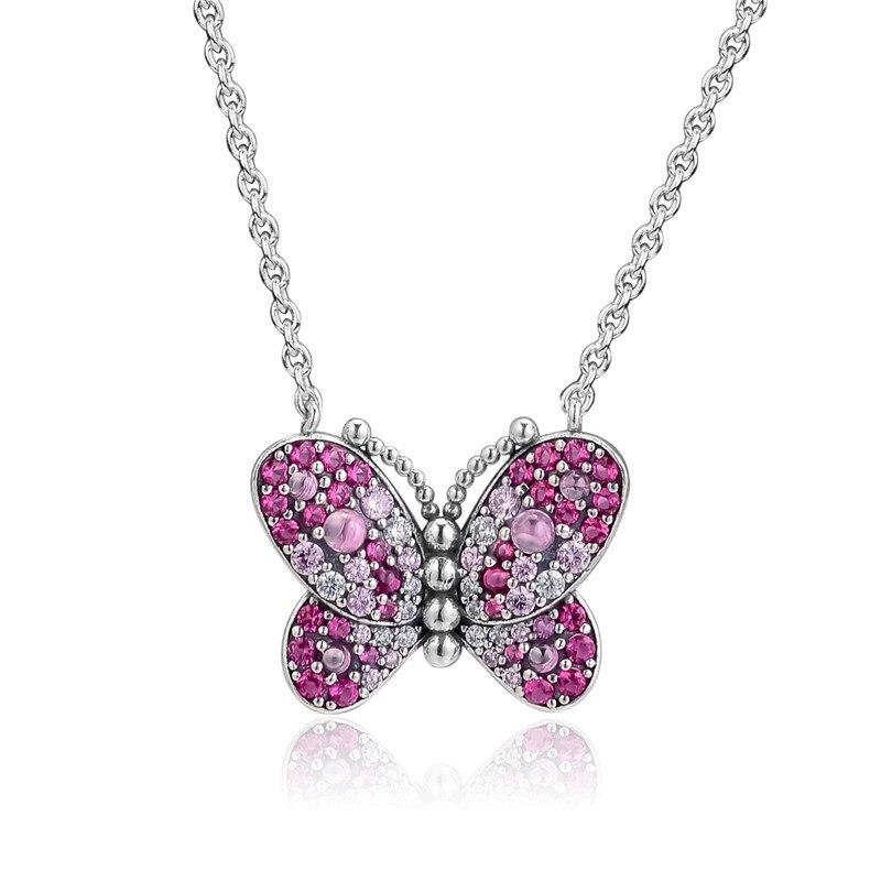 Dazzling Rosa Borboleta Primavera de Cristal Gargantilha Colares para As Mulheres Jóias de Prata Esterlina Colares Pingente Cadeia de Jóias de Prata