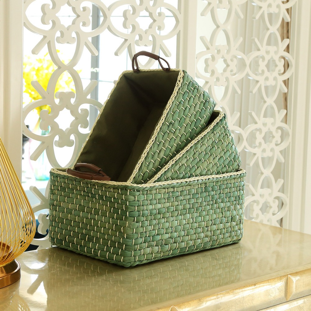 Handmade Wicker Storage Baskets Bins Containers toy organizer box desktop decorative storage boxes for home Small Middle Large-in Storage Baskets ...