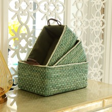 Handmade Wicker Storage Baskets Bins Containers toy organizer box desktop decorative storage boxes for home Small Middle Large storage baskets containers natural water hyacinth rectangular storage bins organizer box metal frame woven straw baskets panier
