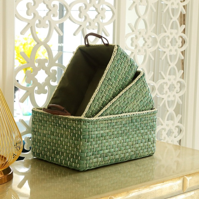 Handmade Wicker Storage Baskets Bins Containers Toy Organizer Box Desktop Decorative  Storage Boxes For Home Small