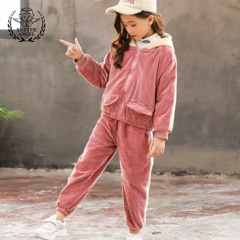 School Girls Two Piece Set Tracksuit Hoody Corduroy Jacket Long Pants Outfits Casual Loose Fit Kids Winter Fleece Lining Suit drop crotch loose two tone pants