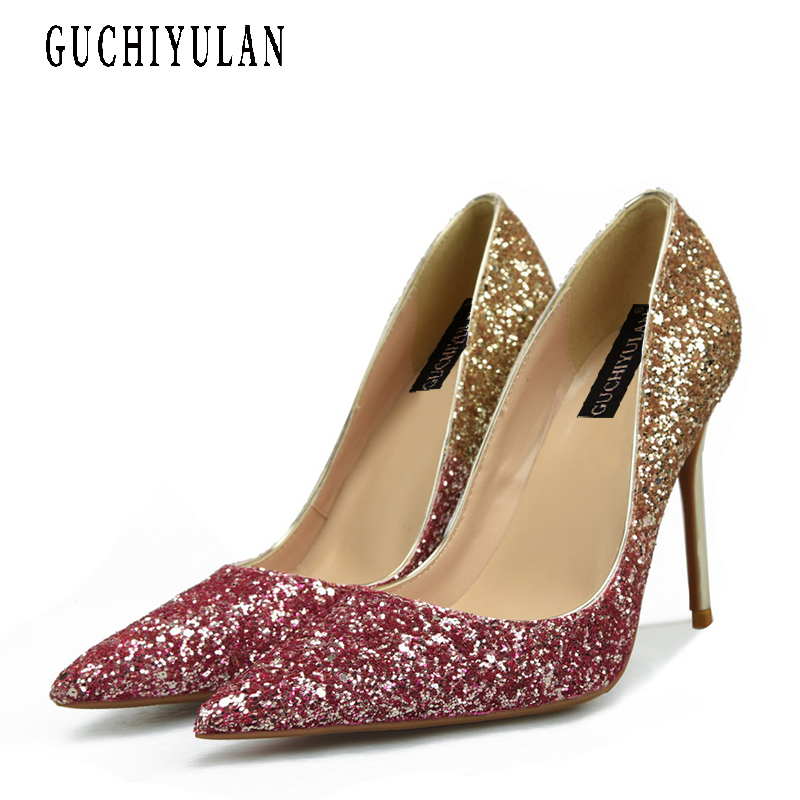 Sexy Woman High Heels Shoes 10CM Pumps Plus Size 33 - 43 Gold Wedding Pointed Toe Heeled shoes Silver party Pumps Big Size 43 facndinll women wedding party shoes fashion high heels peep toe glitter platform shoes woman pumps silver gold plus size 34 43