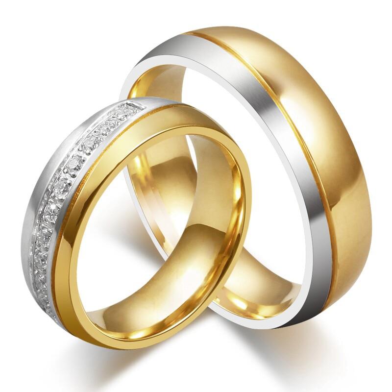Love Wedding Band Ring Guldfärgat rostfritt stål Ring Kubik Zirconia Lover Ring för kvinnor och män i full storlek grossist