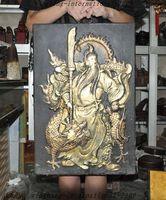 Ремесла статуя Сбор старый китай Лакированные деревянные Дракон гуань гун guanyu Tangka Стене висит хэллоуин