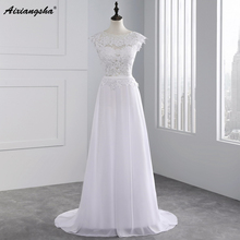 2017 Hot Selling Custom Made A Line Wedding Dresses Vestido de Noiva Casamento Chiffon Lace See through Backless Robe De Mariage