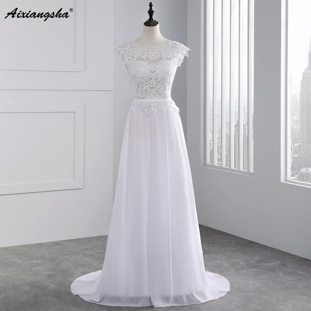 2017 Hot Venda Custom Made A Linha de Vestidos de Casamento Vestido de Noiva Casamento Chiffon Lace Ver através Backless Robe De Mariage