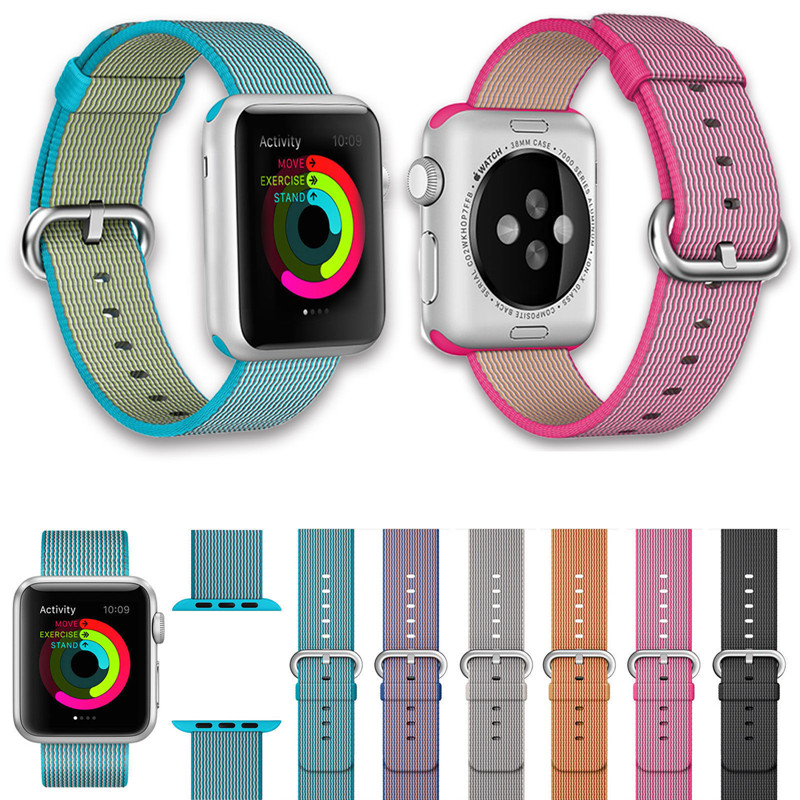 Fashion Woven Nylon Band for Apple Watch 42mm Series 1 2 Replacement Wrist Strap Bracelet For iWatch 38mm Pink Black Watchbands survival nylon bracelet brown