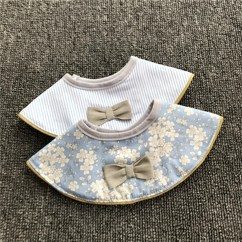 Ins Retro Cotton Breathable Baby Bibs Breastplate Waterproof Kids Things Baby Stuff 360 Degree Rice Pocket (5)
