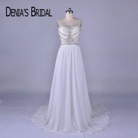 2018 Real Image Beaded Wedding Dresses With Bow A Line Court Train Chiffon Bridal Gowns