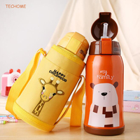 500ML Cartoon Children Thermos Cup Kids Straw Thermos Bottle Stainless Steel Vacuum Water Bottle Drinkware Baby