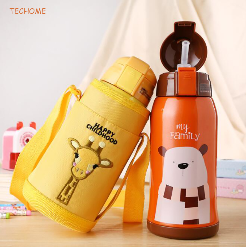 500ML Cartoon Children Thermos Cup Kids Straw Thermos Bottle Stainless Steel Vacuum Water Bottle Drinkware Baby Training Cup my favouite travel mug tea coffee water vacuum cup thermos bottle stainless steel water bottle mug ice cream