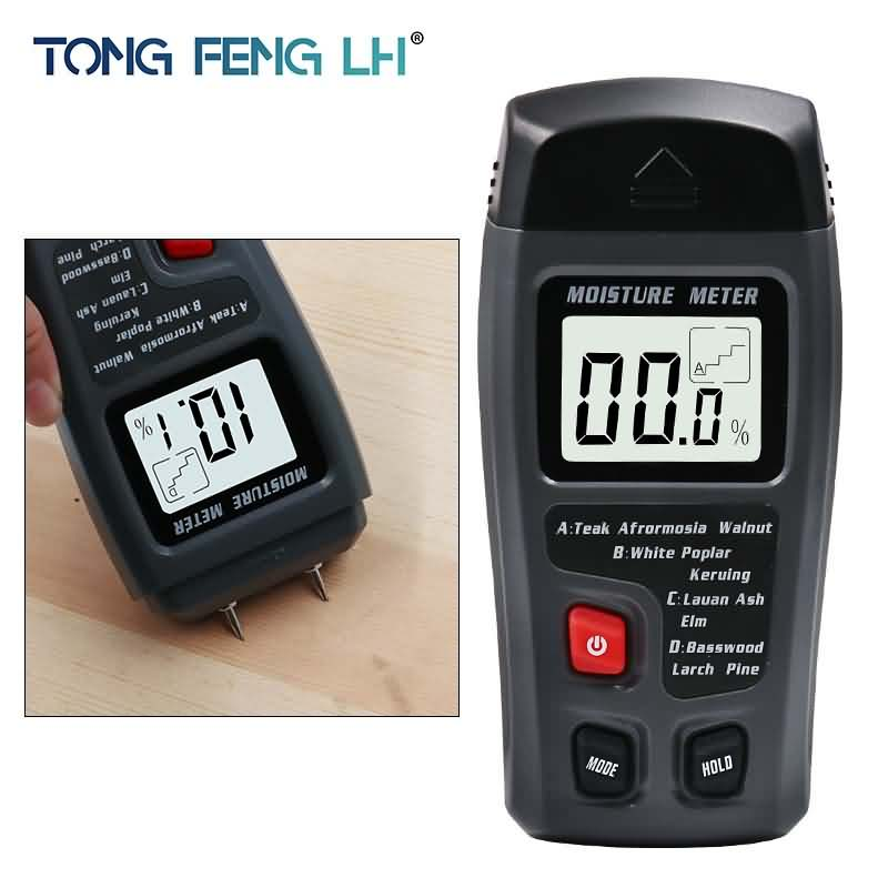 цены 0-99.9% Two Pins Digital Wood Moisture Meter Humidity Tester Timber Damp Detector 0.5 percent Accuracy Moisture Meter Test