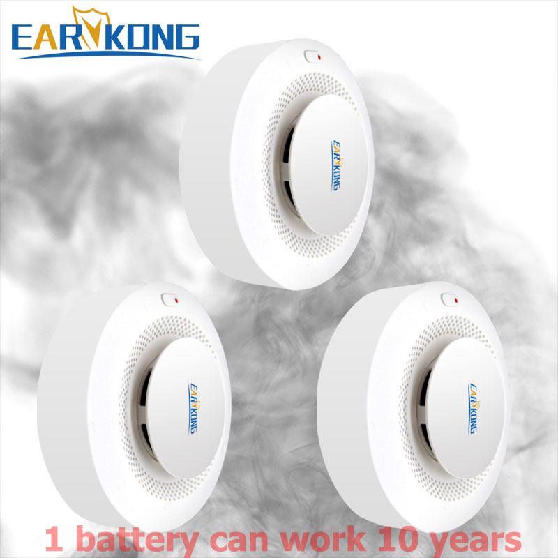 10 Year Working 433MHz Wireless Smoke Alarm Low Power Consumption Battery Works For Wifi PSTN GSM Alarm System For WPG G2B Etc..