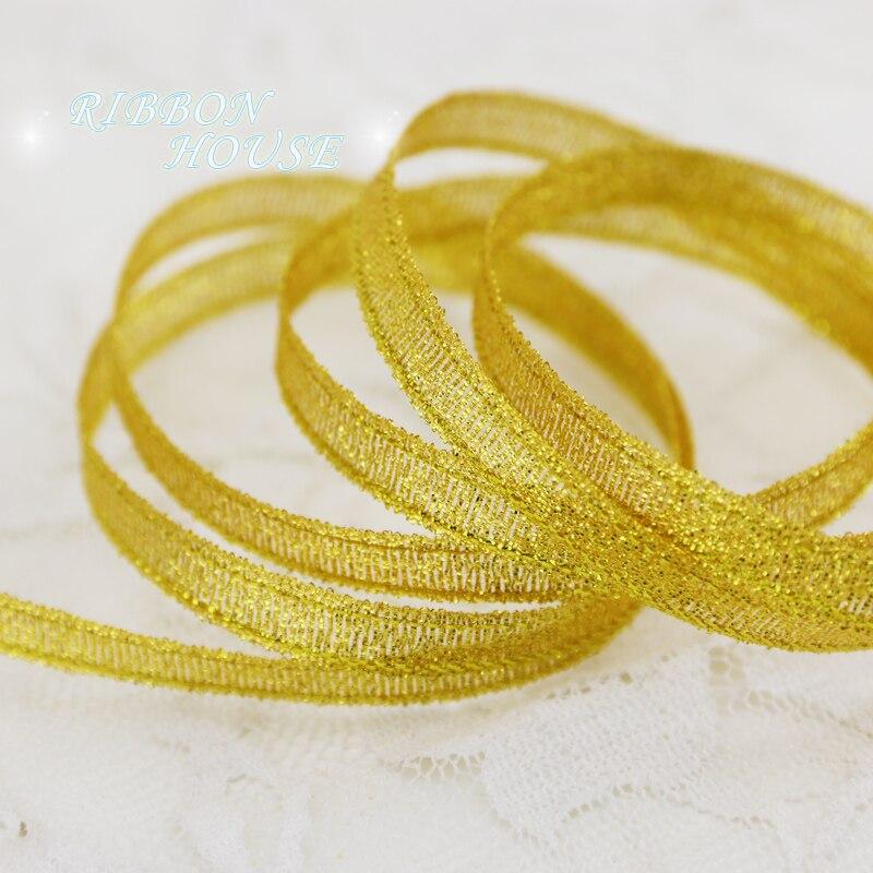 (25 ярдов/партия) 1/4 »(6 мм) Золотая полиэфирная лента Рождественская упаковочная лента высокого качества ленты с квадратным плетением