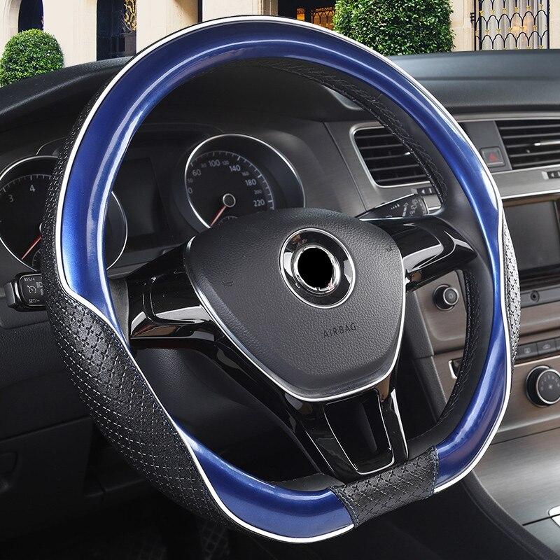 Car steering wheel cover D Shape/ring For Volkswagen Golf 7 2015 POLO Tigua Sagitar Beetle For Kia Sportage Optima K5 2017 2018