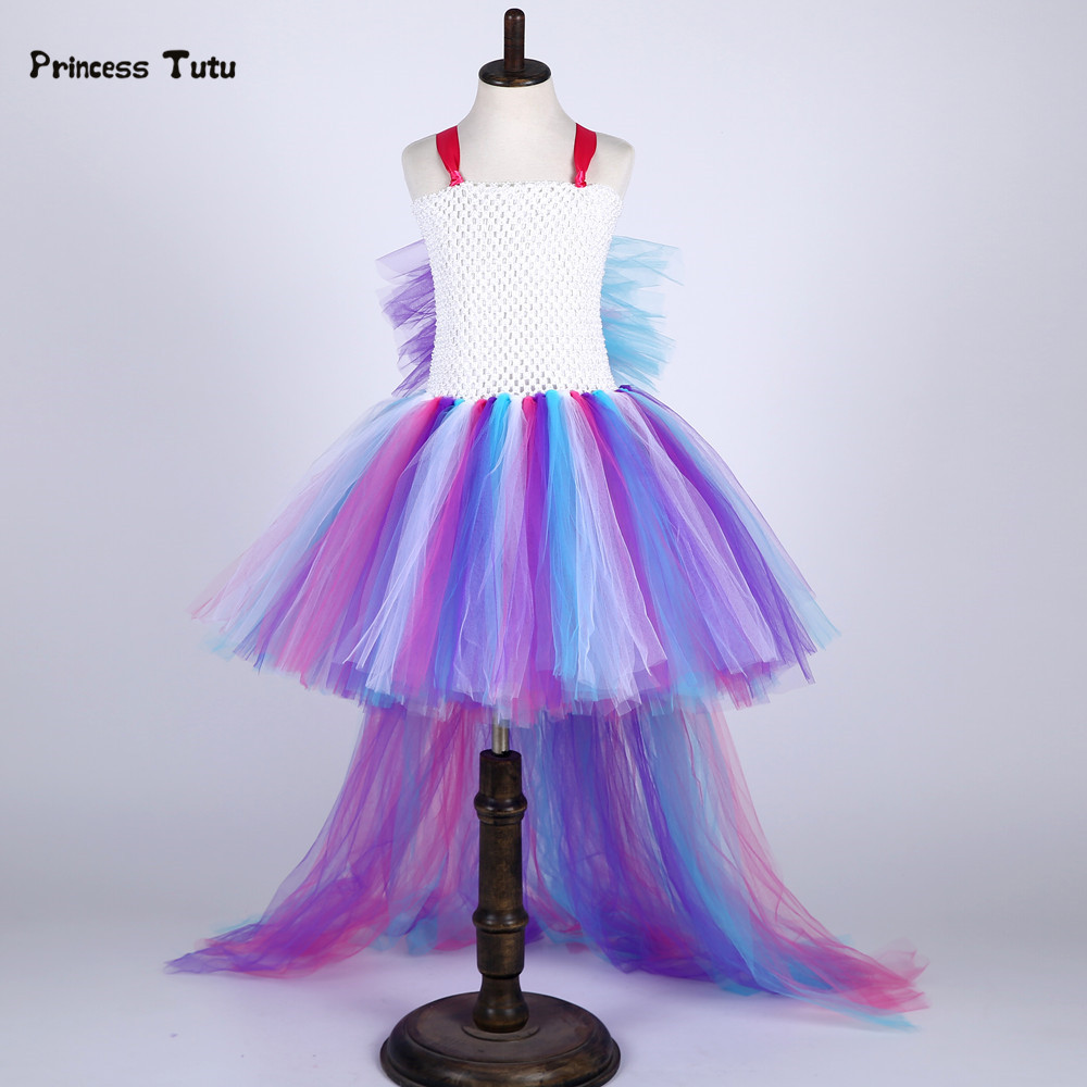 Train Tail Little Horse Cosplay Unicorn Tutu Dress Kids Rainbow Pony Princess Dress Children Girls Tulle Birthday Party Dresses disney princess train case