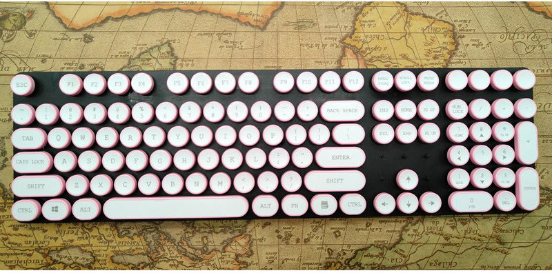 ABS USB Wired Typewriter Steam Punk Style Keyboard With Round Glowing Keycaps For PC Laptop 22