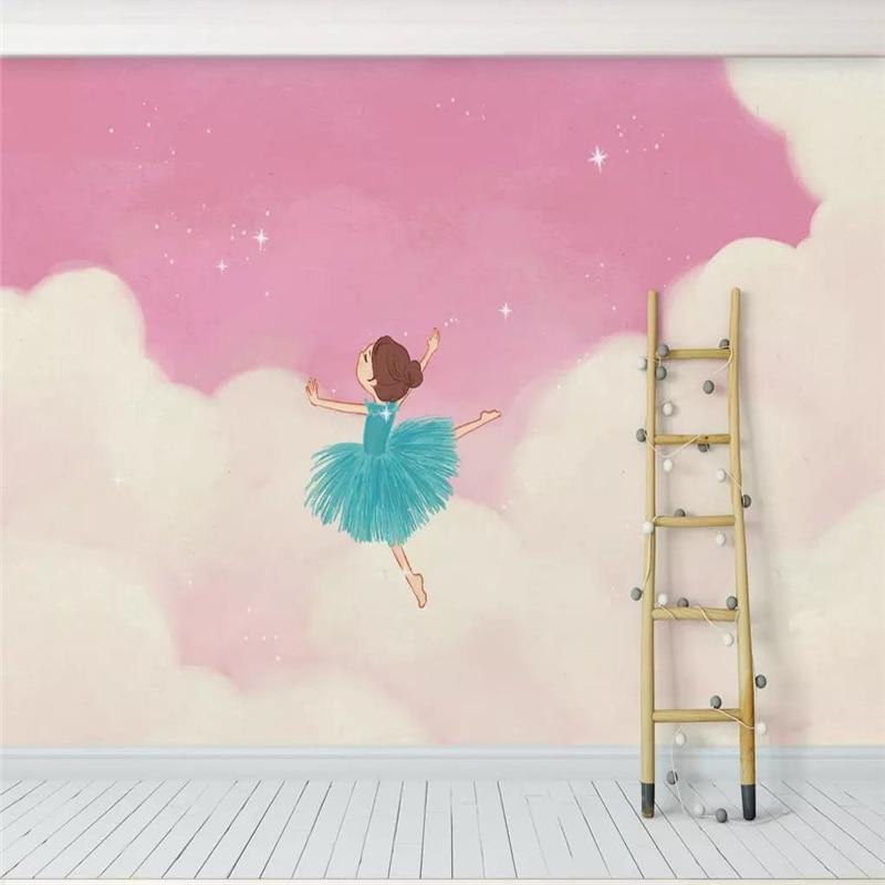Custom wallpaper mural pink cloud ballet girl princess room childrens background wall high-grade waterproof material