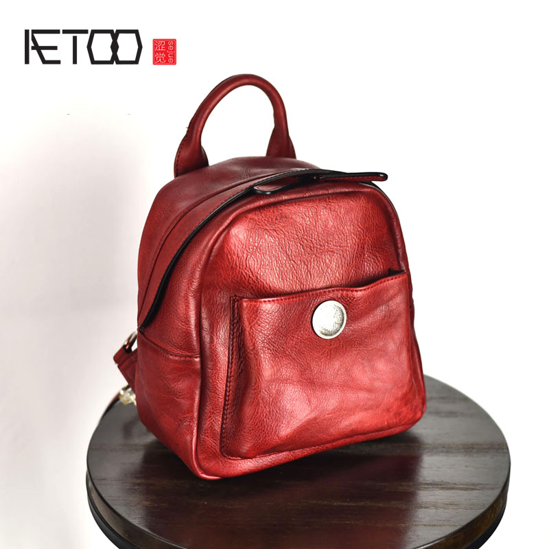 AETOO Original design of the first layer of leather handmade tannery multi-functional mini female backpack retro leather aetoo spring and summer new leather handmade handmade first layer of planted tanned leather retro bag backpack bag