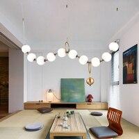 Современное светодиодное стекло лампа с абажуром скандинавского дизайна столовой Кухонные светильники стиль ожерелья Подвесные Светильн