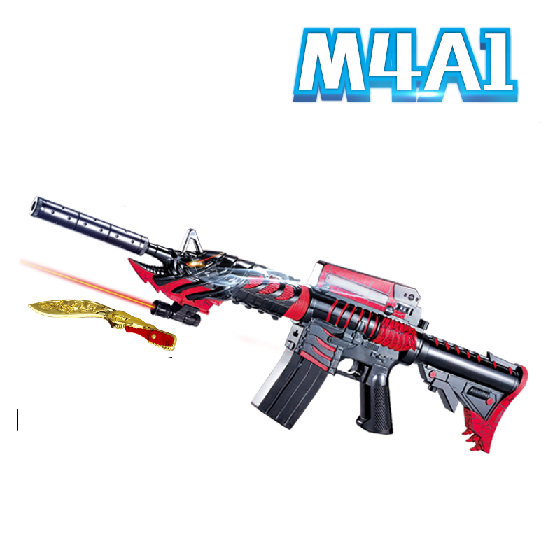 ФОТО M4A1 Electric Rifle Airsoft Bullet Airgun Water Paintball Toy Gun Toy Sniper with Knief Pistol Kids Toys for Outdoor CS Game