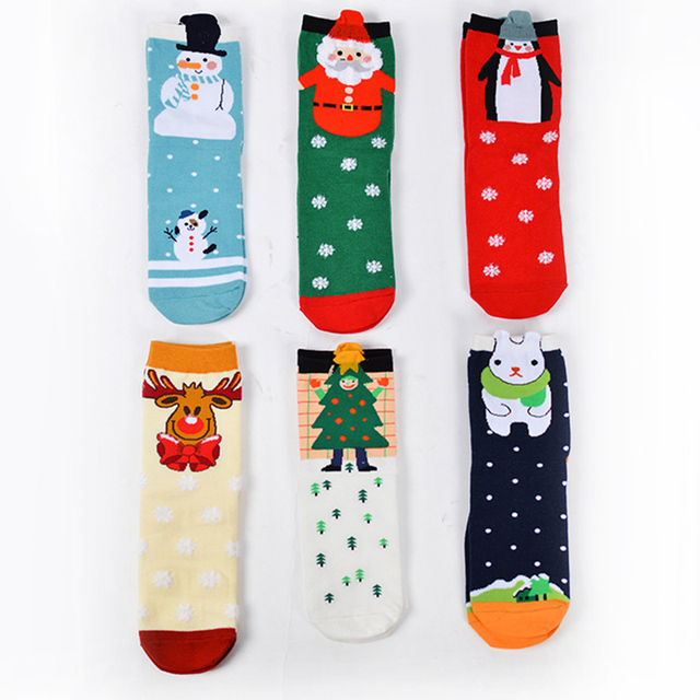 winter feather yarn design women cartoon christmas socks men rabbit elk deer christmas tree santa claus - Christmas Socks For Men
