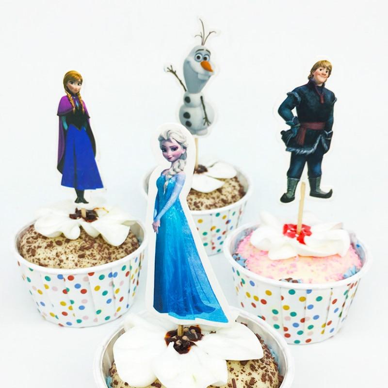 Hot Sale 24 Pcs Frozen Toppers Elsa Anna Cupcake Toppers Plug Flag