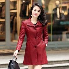 Black Plus Size Female Red Long Autumn Windbreak Winter Coat Overcoat Pu Genuine Leather Jacket Women Trench Middle – aged women
