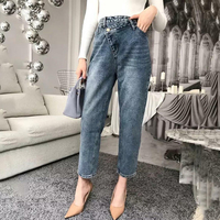 LANMREM 2018 New Fashion Asymmetrical High Waist Jeans Casual Loose Trousers Female's Harem Pants For Autumn Winter YE81405