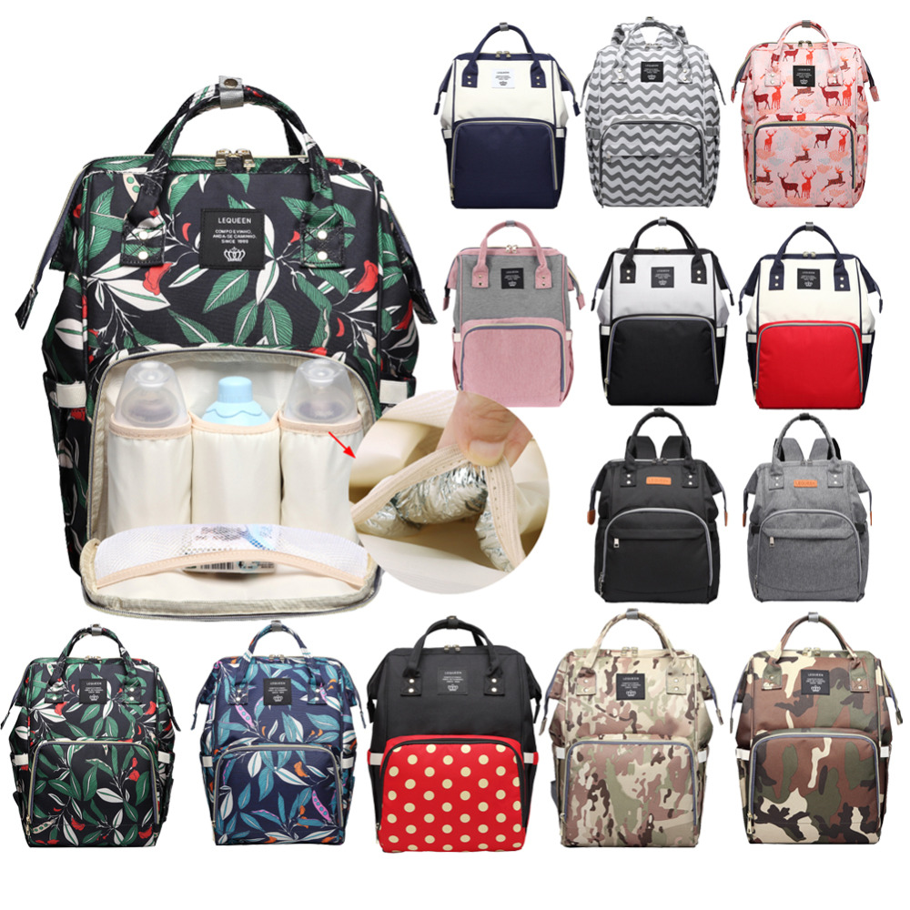LEQUEEN Fashion Mummy Maternity Diaper Bag Large Nursing Bag Travel Backpack Designer Stroller Baby Bag  Nappy Backpack
