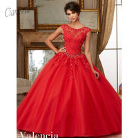 Горячий красный шнурок бисерные Аппликации бальное платье ппатье из корала флиса для обряда инициации девушек Customade сладкий 15 платья Vestidos De